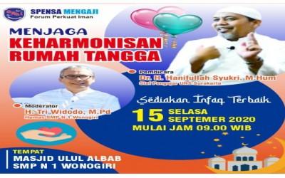 Pengajian SMPN 1 Wonogiri Bersama Ustadz Dr. H. Hanifullah Syukri  Tema : MENJAGA KEHARMONISAN RUMAH TANGGA